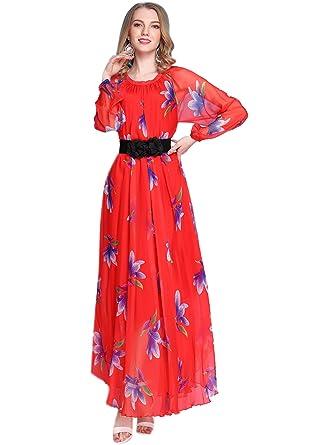 Medeshe Long Sleeve Lily Floral Semi-Formal Maxi Dress  Amazon.co.uk ... eaad1818a