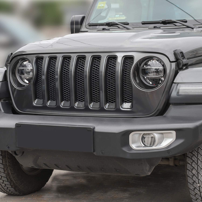 Carbon Fiber Texture JeCar Grill Inserts Headlight Covers Trim Kit Exterior Accessories for 2018 2019 2020 Jeep Wrangler JL JLU /& /& 2020 Jeep Gladiators JT