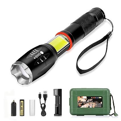 Linterna LED Recargable 3500mAh, Linterna Tactica Impermeable IPX-6 con 5 Modos Super Brillante 800LM 6000K Zoom Ajustable T6 LED y Luz Lateral COB ...