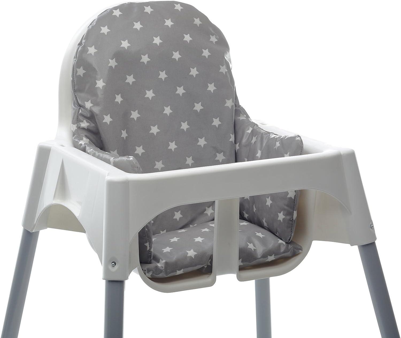 Refuerzo de silla de beb/é para comidas Messy Me Limpieza f/ácil de hule Gris con estrellas Silla alta IKEA Antilop tela Coj/ín de asiento