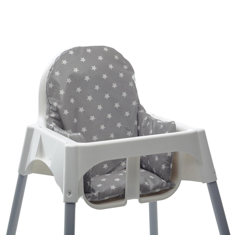 Cojin para trona Ikea Antilop. Facil de instalar y lavar después de las comidas. Tela impermeable. (Floral)