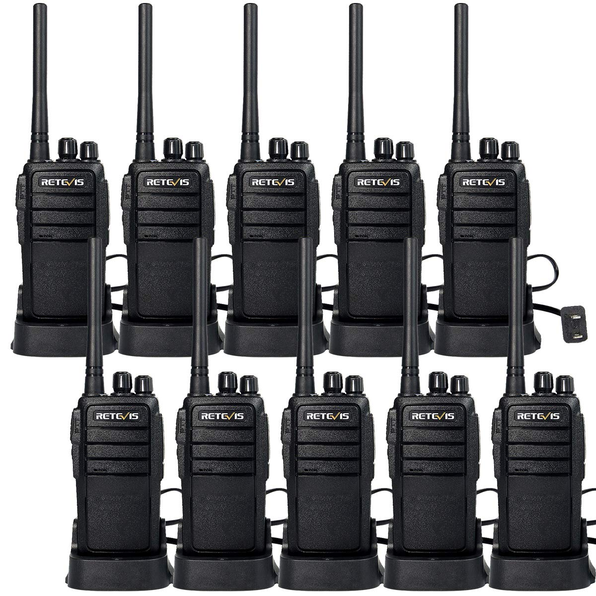 10 Pack Retevis RT21 Walkie Talkies FRS Radio 2 Way Radios FCC 16CH CTCSS//DCS VOX License Free Two Way Radio