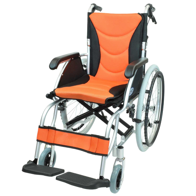 ケアテックジャパン 自走式 アルミ製 車椅子 CA-32SU ハピネスプレミアム (オレンジ) B01MS789K2 オレンジ オレンジ
