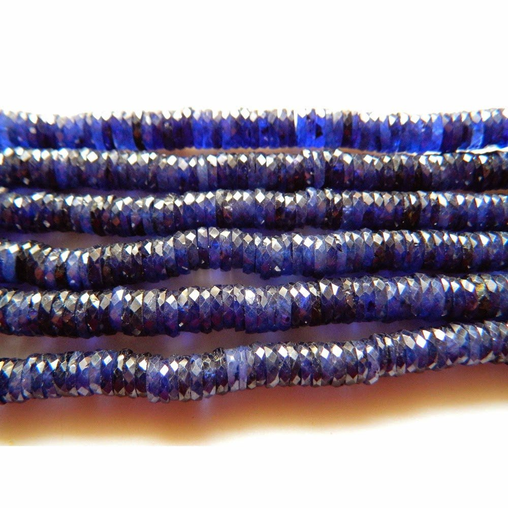 Sapphire Bead, Glass Filled Sapphire Heishi Beads, Faceted Beads, Size 7mm Each, 8 Inch Half Strand