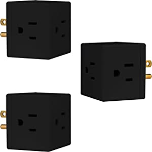 GE Outlet Wall Tap, 3 Pack, 3 Prong, Extra-Wide Adapter Spaced, Grounded, Easy Access Design, Indoor, Black, 47037