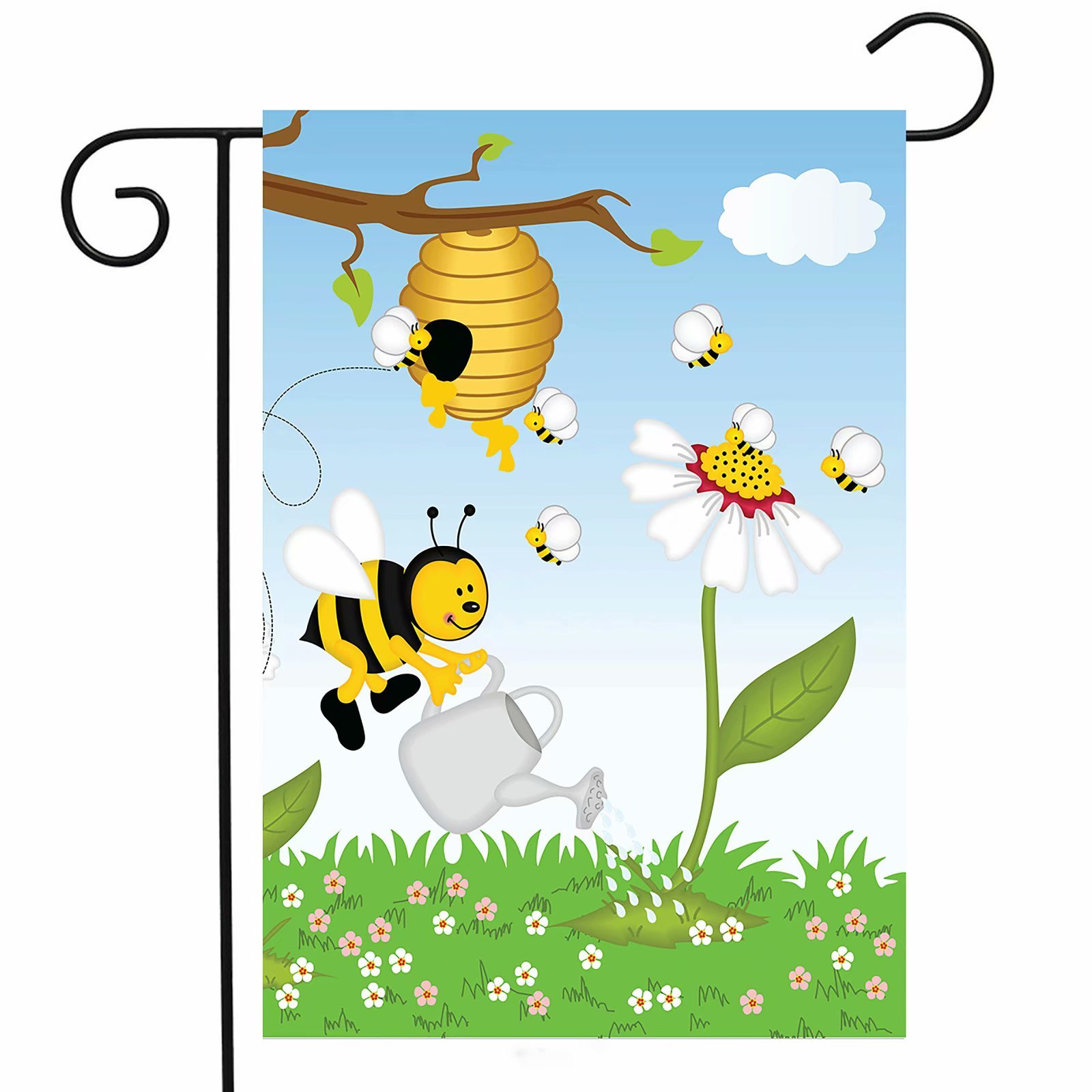 ShineSnow Cartoon Funny Cute Bees Fly Honey Garden Yard Flag 12''x 18'' Double Sided, Daisy Flower Honeycomb Beehive Polyester Welcome House Flag Banners for Patio Lawn Outdoor Home Decor