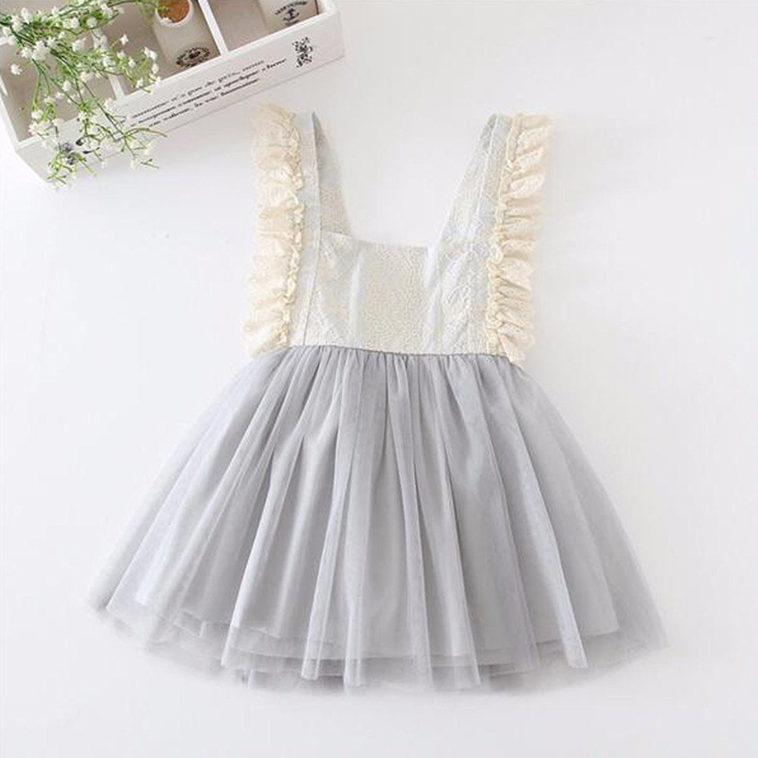 LOliSWan Little Girls Fairy Lace Princess Dress Ruffles Ballerina Tulle Tutu Toddlers Dress Up Outfits For Wedding Party (Gray, 3T) by LOliSWan (Image #3)