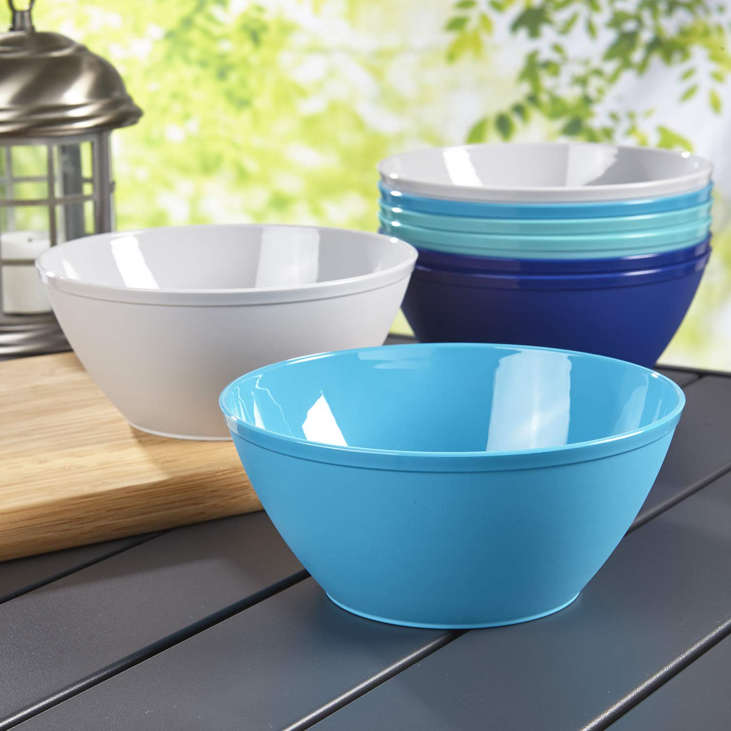 Fresco 6-inch Plastic Bowls for Cereal or Salad | set of 8 in 4 Coastal Colors by US Acrylic (Image #2)