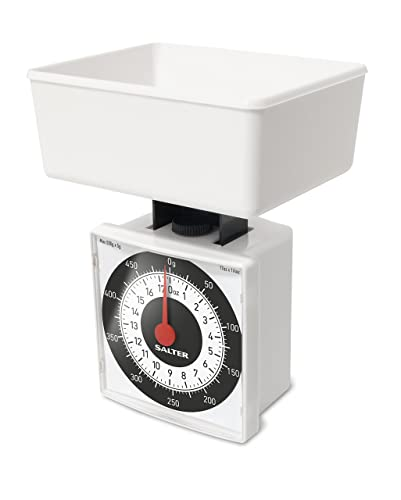 Salter Dietary Mechanical Kitchen Scales – 500g Capacity, Weigh in 5g Increments for Precise Portion Control, Scale Fits Inside Pan, Compact + Ideal for Travel, 15 Year Guarantee - White