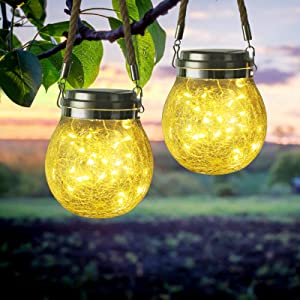 Hanging Solar Lights Outdoor, 2-Pack 30 LED Outdoor Decorative Cracked Glass Ball Lights, Waterproof Solar Powered Lanterns with Handle for Garden, Yard, Patio, Tree, Holiday Decoration(Warm White)