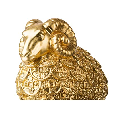 brassmaster fortuna Golden ovejas Estatua Artware Furnishing artículos adorno artesanal decoración de hogar rico oveja decoración