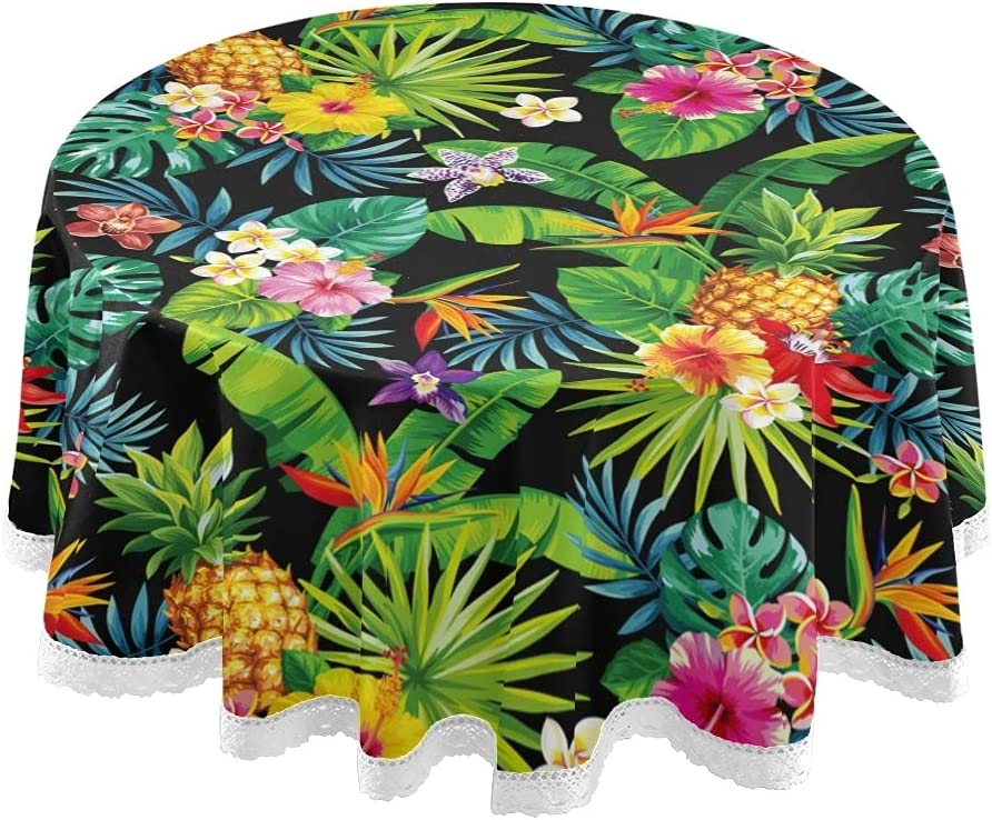 Tropical Pineapple Round Outdoor/Indoor Tablecloth 60 Inch Table Cover Print Lace Summer Table Cloth Washable for Kitchen Dining Tabletop Decor and Holiday Home Party Picnic 2100633