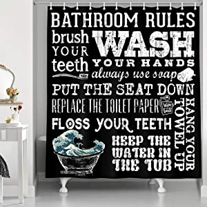 NYMB Black and White Bathroom Shower Curtain, Bathroom Rules Decor Shower Curtain Set, Japanese Wave Funny Quotes Fabric Bath Curtain Farmhouse Style, 69X70 Inches