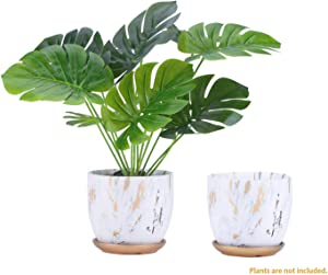 Marble Ceramic Plant Pot, 5.5 Inch Gardening Pots with Drainage, Marble Look Scrub Pots for Succulents/Plants/Flowers (2 Pack)