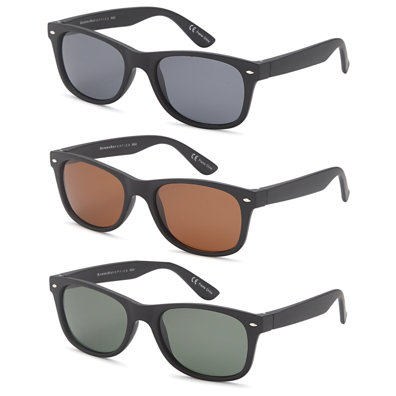 Gamma Ray Polarized UV400 Classic Style Sunglasses with Mirror Lens, 3 PACK - Mixed