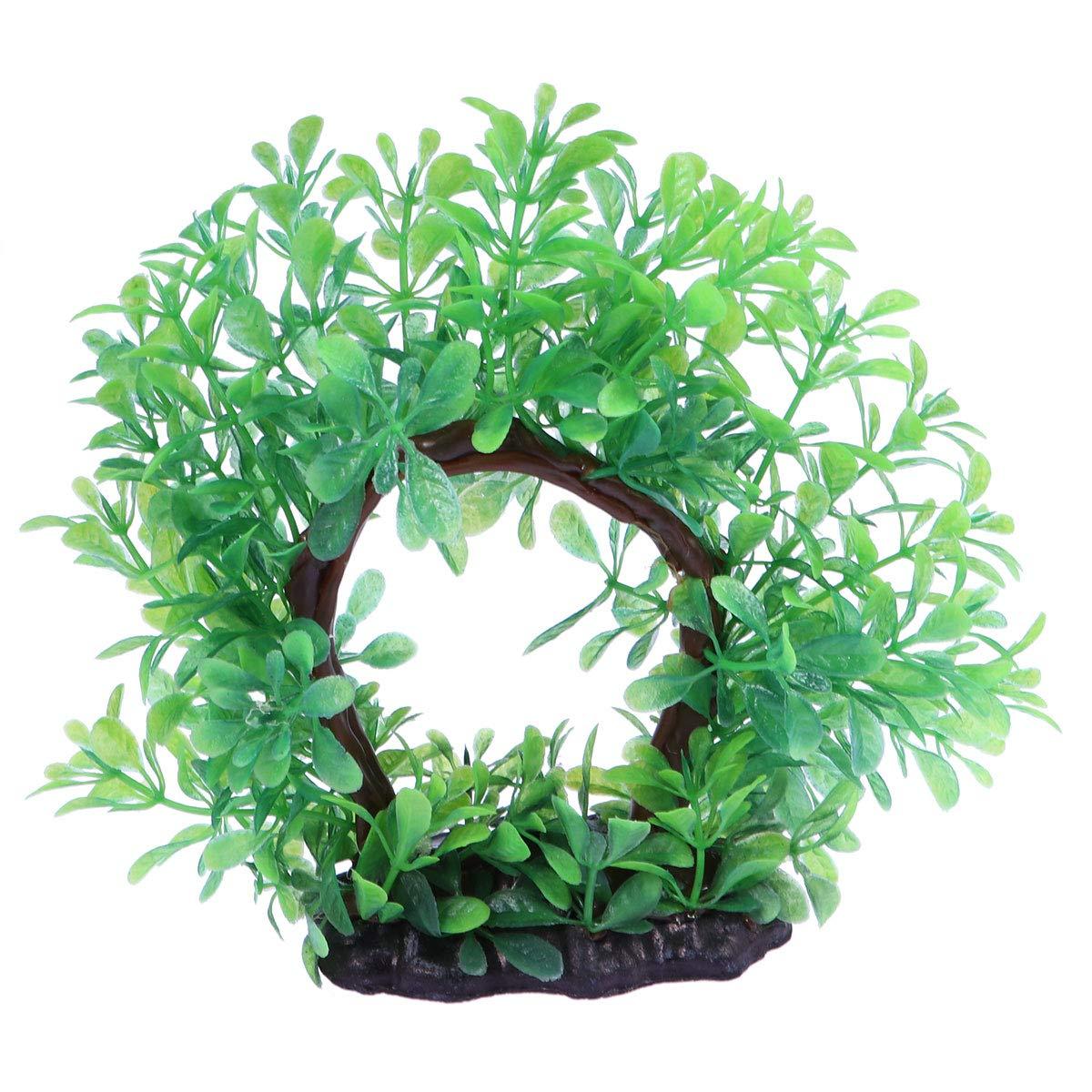POPETPOP Plantes d'eau artificielles Porte de Fleur Faux Plante Aquatique Ornement de réservoir de Poissons décoration d'aquarium (Vert)