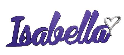 Nombre del niño o niña de puerta placas con corazón, Isabella ...