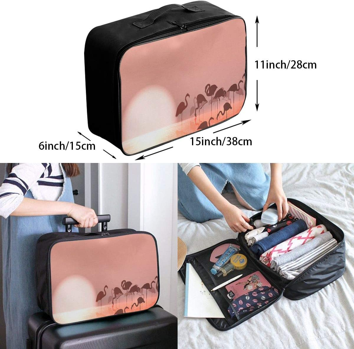 Yunshm Flamingo Red In The Sunset Personalized Trolley Handbag Waterproof Unisex Large Capacity For Business Travel Storage