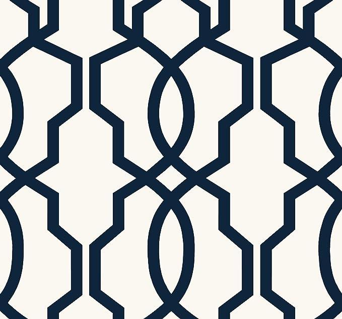 York Wallcoverings Ge3664 Ashford Geometrics Hourglass Trellis Wallpaper Navy Blue White Amazon Com