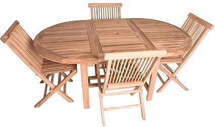 Amazoncom Zenvida Piece Teak Extendable Dining Table With - Extendable dining table with folding chairs