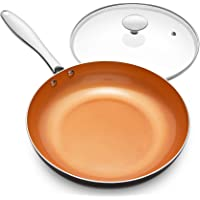 MICHELANGELO Frying Pan with Lid, Nonstick 8 Inch Frying Pan with Ceramic Titanium Coating, Copper Frying Pan with Lid…