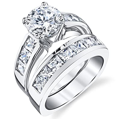 sterling silver bridal set engagement wedding ring bands with round and princess cut cubic zirconia 4 - Silver Wedding Ring