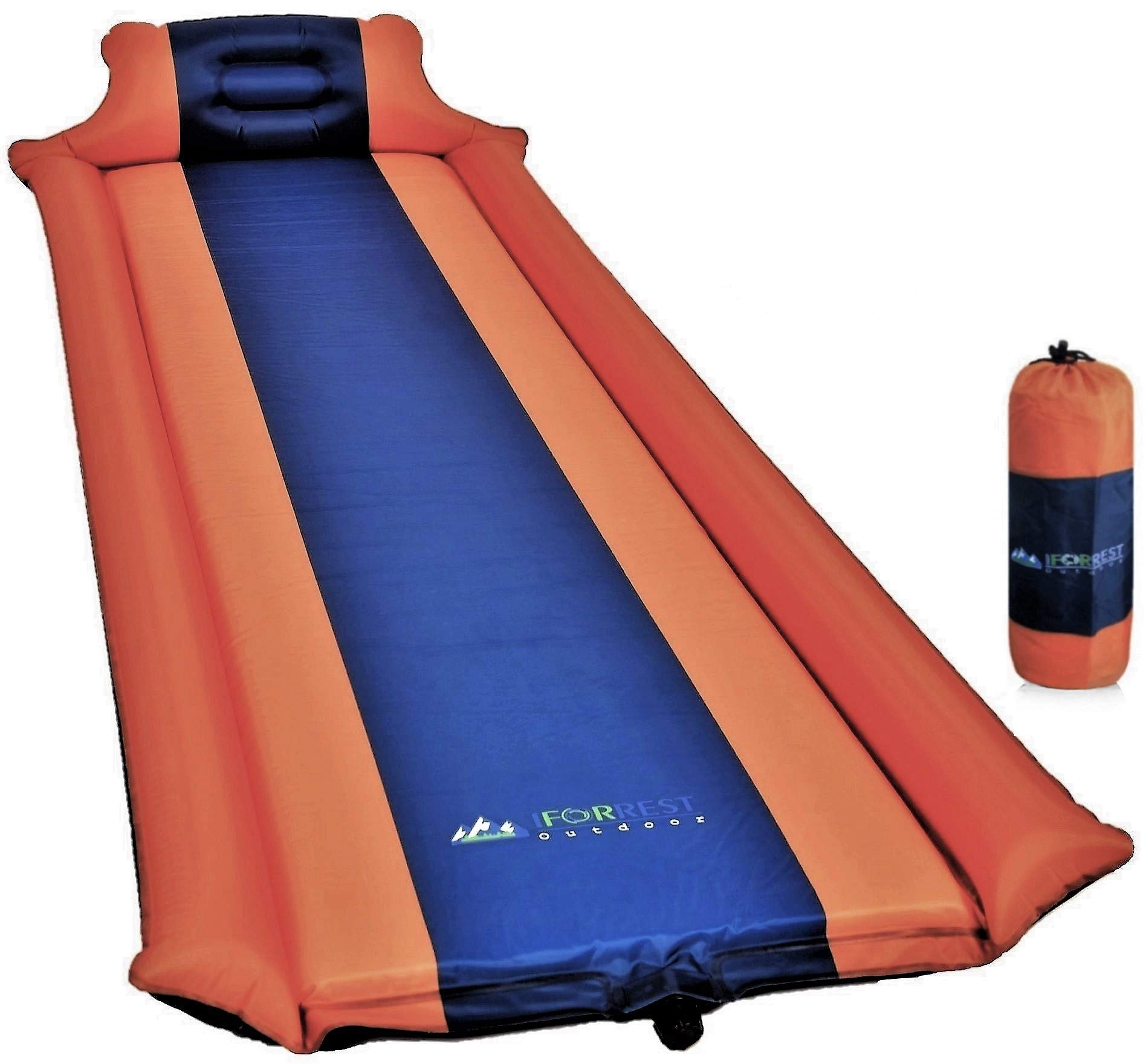 IFORREST Sleeping Pad with Armrest & Pillow - Ultra Comfortable Self-Inflating Foam Air Mattress is Ideal for Travel, Camping & Hiking, Backpacking, Cot, Hammock, Tent & Sleeping Bag! (Blue) (Orange) by IFORREST