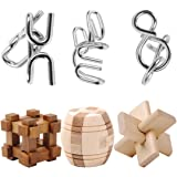 Puzzle, FOKOM 6 Pezzi Puzzle 3D Puzzle Classici Puzzle di Legno IQ Rompicapo Set: 3 Rompicapo in Legno + 3 Puzzle in Metallo Per Bambini e Adulti