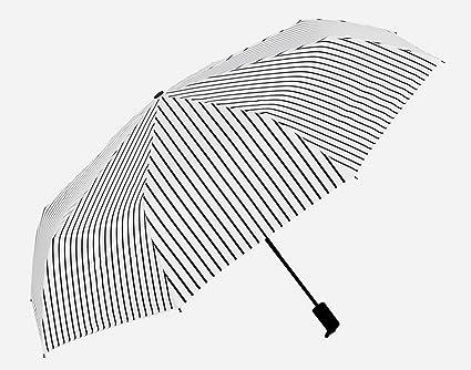 Sucastle Anti-ultravioleta, pequeño fresco, rayas, lluvia asoleada, paraguas, tres
