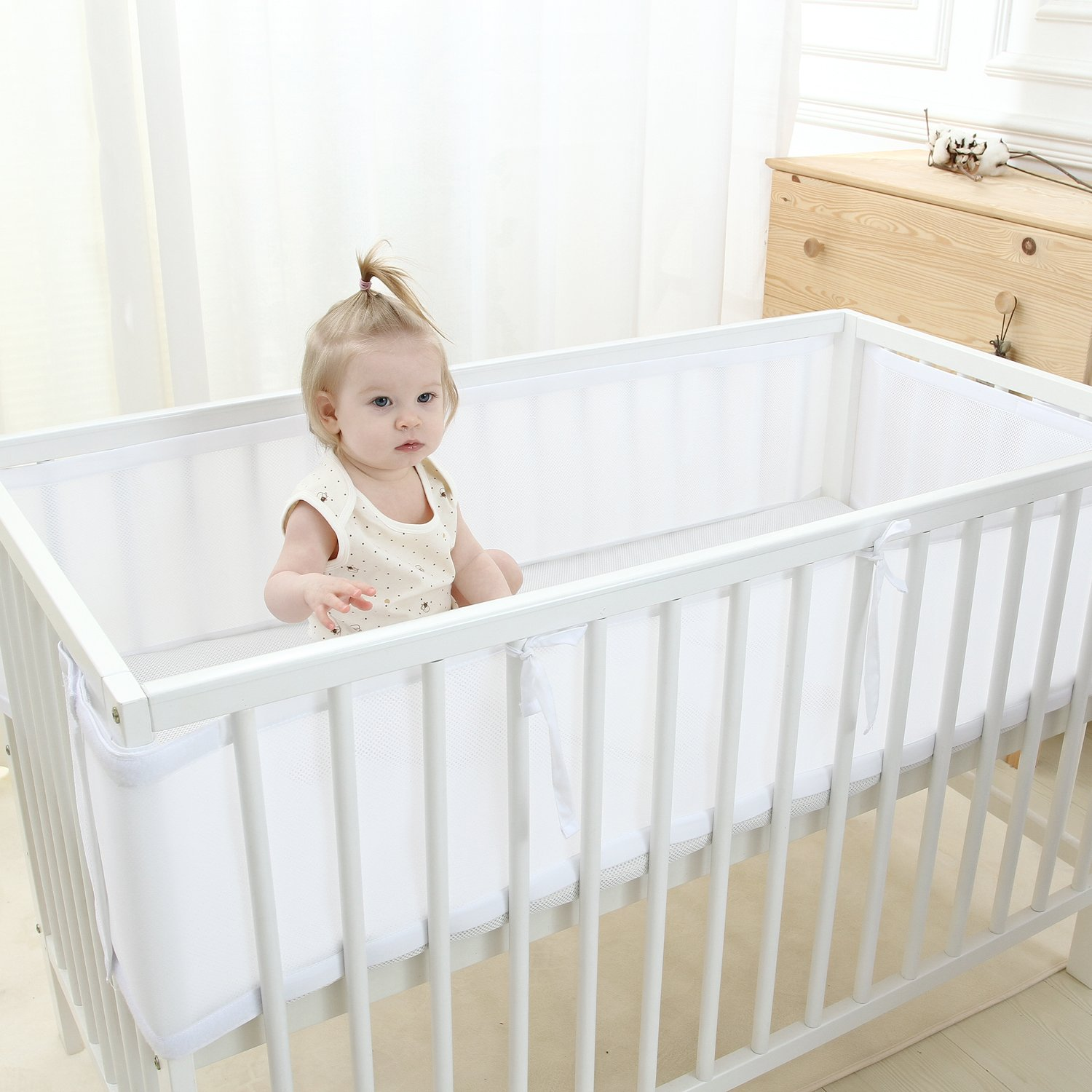 BBTKCARE Breathable Mesh Crib Bumper,White