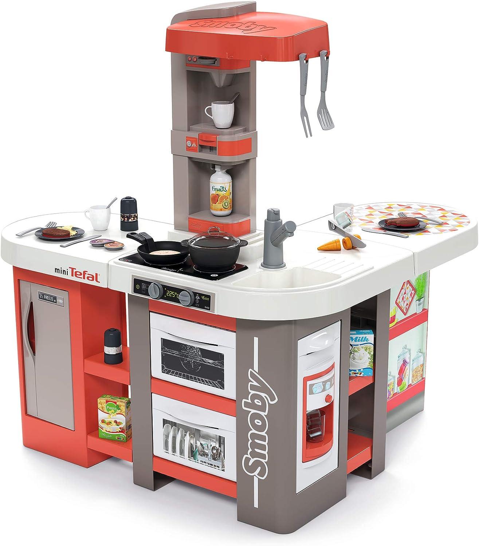 Smoby - Cocina Tefal Studio Bubble XXL – Cocina en ángulo Extravagante, con Sonido, para niños a Partir de 3 años, con Muchos Accesorios, Color Rojo.