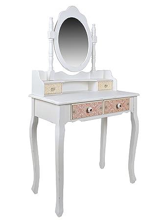 ts ideen landhaus schminktisch frisiertisch konsolentisch spiegel shabby vintage weiss