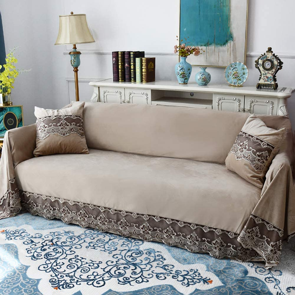 Plush Sofa Slipcover,Vintage 1-Piece Sofa Cover Lace Solid Color Couch Cover Anti-Slip Furniture Protector for 1 2 3 4 Seaters Sofa-Beige 200x380cm(79x150inch)