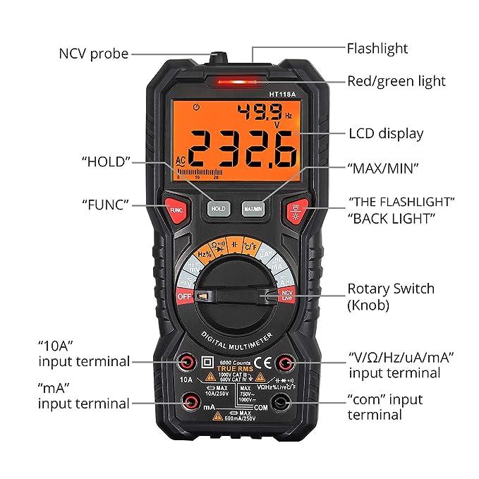 Multímetro Digital 6000 Cuentas TRMS Polimetro Rango Auto/Manual Profesional Voltaje Corriente CA CC NCV Capacitancia Temperatura Diodo Continuidad ...