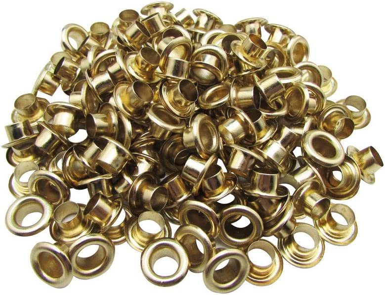 Amanaote 3mm Internal Hole Diameter Light Golden Eyelets Grommets with Washer Self Backing Pack of 200 Sets