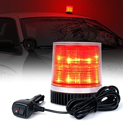Xprite Red 12 LEDs Rotating Beacon Strobe Light w/Magnetic Mount, Revolving Warning Flashing Light for Emergency Caution Vehicle, Snowplow, Firefighters, Wrecker: Automotive
