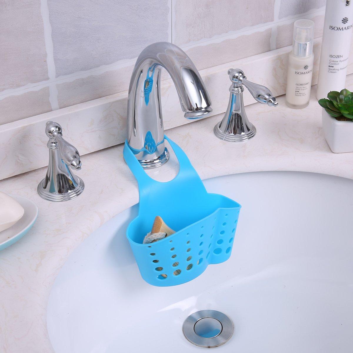 Yontree Kitchen Sink Caddy Sponge Holder Organizer Corner Silicone Blue