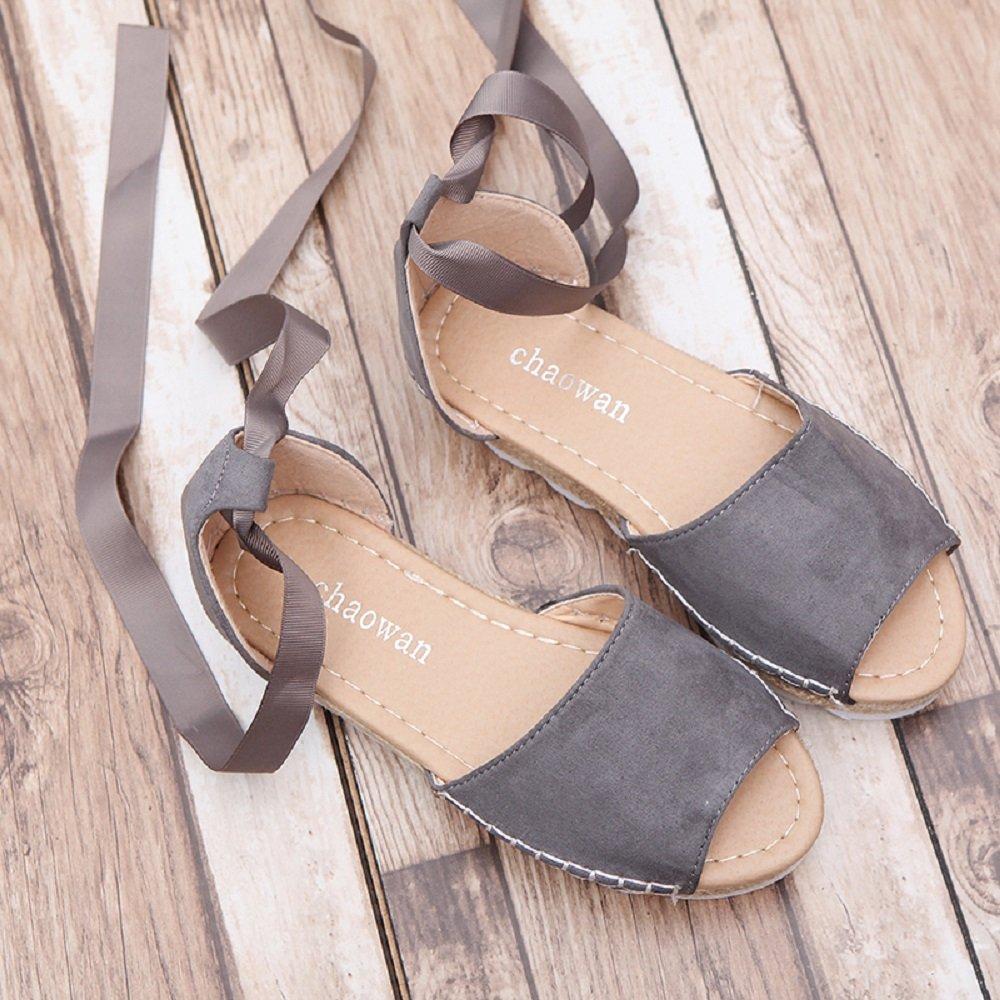 Plataforma Bohemias Playa Mares Romanas Cu/ña Gladiador Tacon Zapatos Zapatillas Negro Beige 35-44 Mujer Sandalias Alpargatas Planas Verano