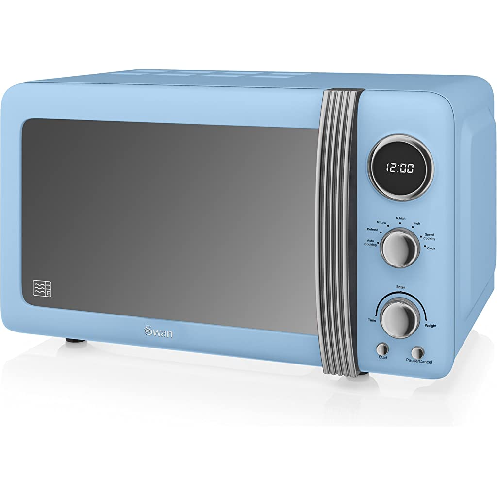 Swan Retro Duck Egg Blue Digital Microwave