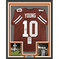 $399 » Framed Autographed/Signed Vince Young 33x42 Texas Orange College Football Jersey JSA COA