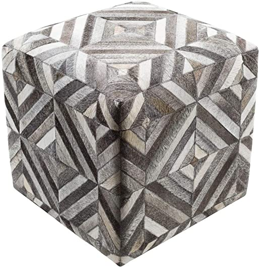 Unknown1 18-inch Hair On Hide Square Pouf Black Grey Tan Embroidered Motif Patchwork Modern Contemporary Leather Polyester