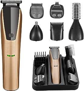 Recortadora de barba 6 en 1 para hombre, cortapelos inalámbrico ...