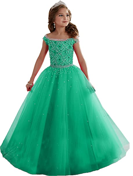 Review Big Girls Mint Beaded Floor length Party Ball Gown Pageant Dresses