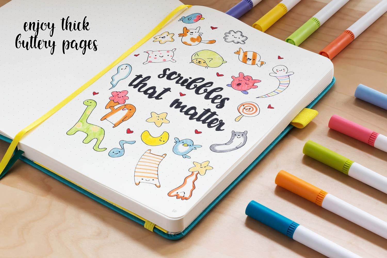 formato A5 Scribbles That Matter con copertina rigida diario punteggiato da Scribbles That Matter penne stilografiche Oliva per creare il proprio organizzatore di vita con tasca interna