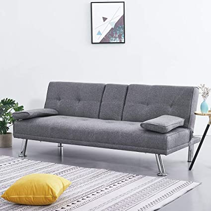 Wellgarden Modern 3 Seater Sofa Bed Line Fabric Grey Sofa Couch Settee  Sleeper Sofa with Cup Holders and 2 Free Cushions for Living Room