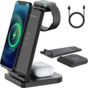 AgoKud 3 in 1 Wireless Charging Station for Apple, Detachable Wireless Charger for iPhone 12/11/XR/XS Max/Xs/X/8P/8, Wireless Charger Stand for Apple Watch 6/5/4/3/2/SE/Airpods Pro/2