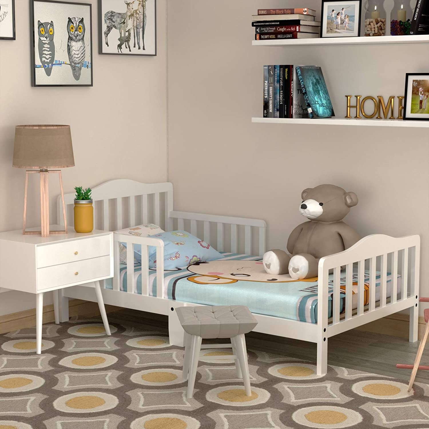 HONEY JOY Toddler Bed Frame, Solid Rubber Wood Frame w/Safety Guardrail, Fits Crib Full Size Mattress (Not Included), Children Classic Sleeping Bedroom Furniture for Kids Boys Girls (White)