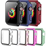 PLWENST 8 Pack Screen Protector Case Compatible with Apple Watch 38mm Series 3/2/1, Full Hard PC Ultra-Thin Scratch Resistant