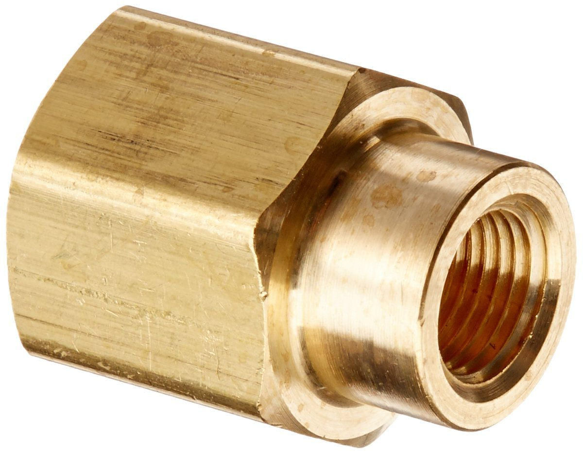 "Parker Hannifin 208P-4-2 Brass Reducer Coupling Pipe Fitting, 1/4"" Female Thread x 1/8"" Female Thread"
