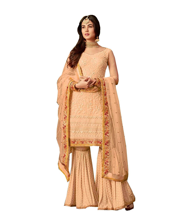 orange ziya Indian Pakistani Women's Collection sharara Palazo Suit M 6402